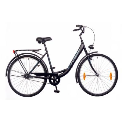neuzer balaton eco 28-as, 1s, matt fekete városi kerékpár