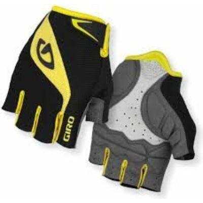 giro bravo gel fekete-sárga rövid ujjú kerékpáros kesztyű